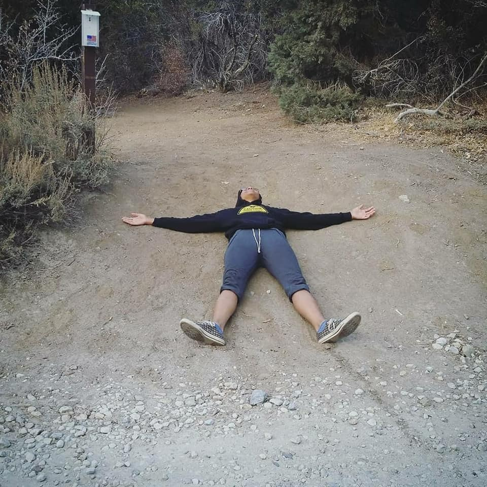 Laying on the PCT trail